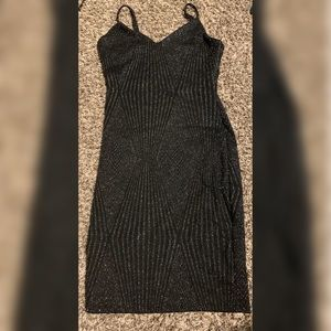 Black with silver/glitter dress.